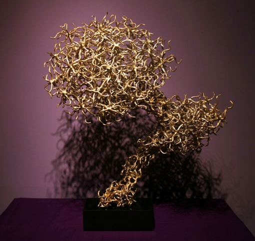 "Curious Sun 2008 30"" x 25.2"" x 18"" (74 cm x 64 x 46), brass cast, one-of-a-kind piece  Private collection, New York"