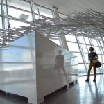 Outside Time, 2014, steel, aluminum, 30ft x 15ft x 12ft (10m x 5 x 3.6), 1000ft of tubing, 600 elements, JFK Intern. Airport Terminal 4, New York