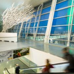 Outside Time, 2014, steel, aluminum, 30ft x 15ft x 12ft (10m x 5 x 3.6), 1000ft of tubing, 600 elements, JFK International Airport Terminal 4, New York