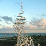 Salto de Agua, 2001, steel, 15 feet x 8 feet x 8 feet (4.5 m x 2.4 x 2.4) Permanent installation, Punta Sur International Sculpture Park,  Isla Mujeres, Mexico.