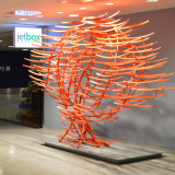 VVoice of Tomorrow, 14ft x 9ft x 5ft (4.5m x 3 x 1.5), 150ft steel tubing, 150 elements, Departure Hall JFK Terminal 4, New York