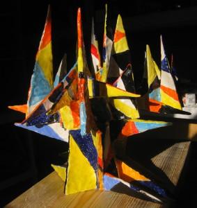 "Mountain of Colors  2013, 18"" x 17"" x 13"" (46cm x 43cm x 33cm), fired clay, glaze"