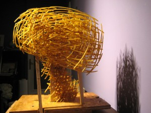 "Sound of Future  2008, 17' x 10"" x 17"" (42cm x 25cm x 42cm), brass, unique cast, one-of a-kind piece; Private collection, New York"