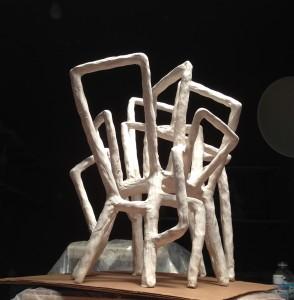 "Tierra y Cielo  2015, 20"" x 18"" x 22"" (51cm x 46cm x 56cm), fired clay; model for a large-scale public work"