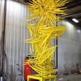 Waterfall of Light  Steel, color, h=17' x 8' x 8'  GSP International Airport Commission, Greenville, South Carolina